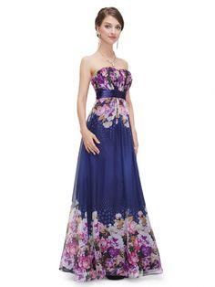 美しい花柄のブルー系ロングドレス - ロングドレス・パーティードレスはGN|演奏会や結婚式に大活躍!