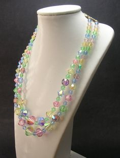 Pastel Colors Crystal Necklace - 1950s - Vintage Necklaces - Two Strand by SwankyJewels on Etsy