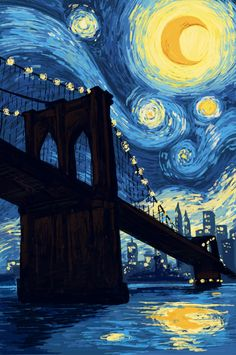 Starry night over the Brooklyn Bridge (saw you guys liked Starry Night made from Hubble images so thought I'd share!) [OC] [1000x700]