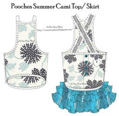 Pooches Summer Cami Top / Skirt for little Dogs - free pattern and tutorial Diaper Cover Pattern, Dog Pattern, Free Pattern, Dog Clothes Patterns, Sewing Patterns Free, Dress Patterns, Free Sewing, Pet Fashion, Puppy Clothes