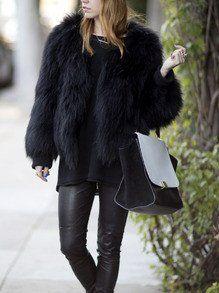 Black Long Sleeve Faux Fur Coat - Crystalline