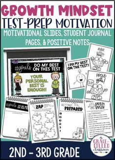 Encourage your students to maintain a growth mindset during testing with these growth mindset testing motivation resources. Use the motivational slides, student journal pages and positive notes to encourage your students! #growthmindset #testprep #testprepmotivation