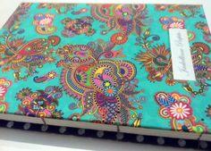 Caderno com estampa hippie chic, personalizado.
