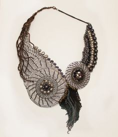 The Eloiza Statement  Necklace Copper Wire Crocheted with by Ksemi, $205.00