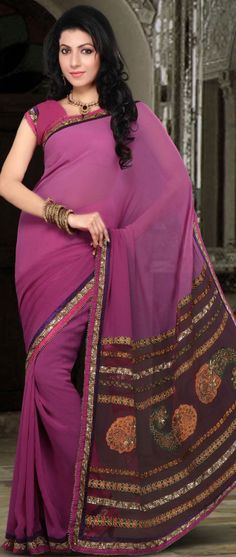 Shaded Magenta Faux Georgette and Net Saree With Blouse @ $60.98