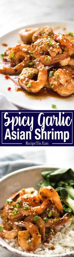 Asian Chilli Garlic Prawns - Juicy prawns in a sweet, sticky, spicy, garlicky sauce. Dinner on the table in 10 minutes! Prawn Recipes, Fish Recipes, Seafood Recipes, Asian Recipes, Cooking Recipes, Healthy Recipes, Ethnic Recipes, Asian Foods, Oriental Recipes