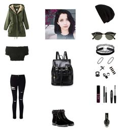 """""""Work Outfit #77"""" by cherryflame14 ❤ liked on Polyvore featuring Miss Selfridge, Topshop, Aquazzura, Rick Owens, Ray-Ban, Emi Jewellery, Forever 21 and NYX"""