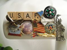 US Air Force Collage Jewelry Pin Brooch- Wear or Display. Birthday Gift for Him or Her. Gift Under 25. USAF. Military. Gift for USAF Mom Dad. $23.99, via Etsy.