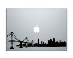 """San Francisco Skyline Vinyl Decal / Sticker to fit Macbook Pro 13"""" 15"""" 17"""" and Air 11"""" 13"""" - Custom sizes available - precision die cut city"""