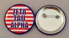 Zeta Tau Alpha USA 2-inch Button by GreekLifeStuff on Etsy