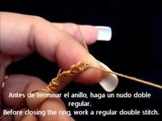 frivolite-tatting lesson 46 - esconder cabos al final de un anillo hide ends at the end of a ring - YouTube