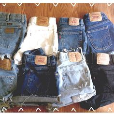 Plain Cuffed  High Waisted Denim Shorts on Etsy, Sold
