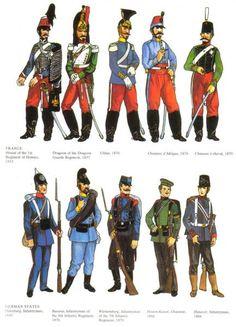 """L'évolution de l'uniforme prussien   L'armée française                        L'armée française dans les années 1860   L'armée française dans les années 1840        Légionnaire dans les années 1840  Les uniformes verts de la Légion en Italie    """"La prise de Constantine"""" d'Horace Vernet     A remarquer : les zouaves en turban rouge"""