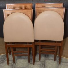 4~Vintage 1950u0027s STAKMORE Cane Back Mid Century Folding Wood Kitchen Chairs  A+++