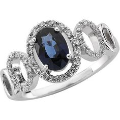Vintage Style Blue Sapphire and Diamond Ring in 14 KT White Gold Featuring One Genuine 7 X 5 mm Faceted Oval Shape Blue Sapphire and Enhanced with 36 Genuine Brilliant round shape diamonds