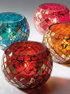 Moroccan Mosaic Glass Tea light Yankee Village Votive Candle Holder in 4 Colours