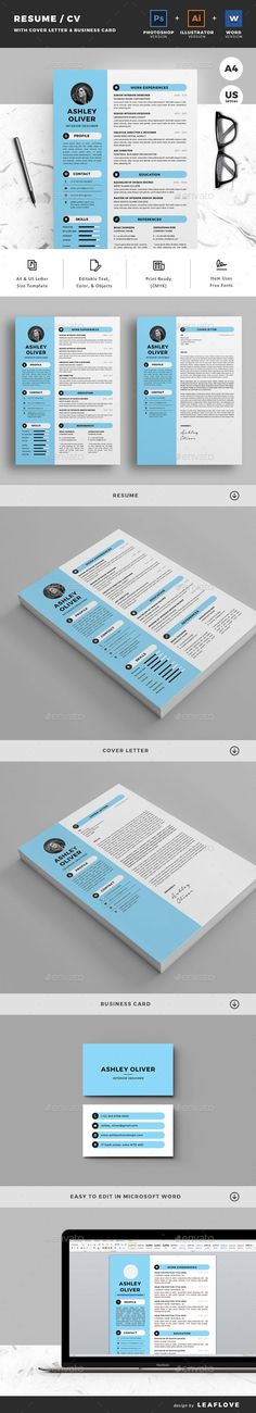 Resume Template PSD, Vector EPS, AI Illustrator, MS Word - A4 & US Letter Size