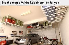Garage ceiling storage. Wow! Awesome storage system for small garage! White Rabbit Garage Organization in Chicago does an awesome job!