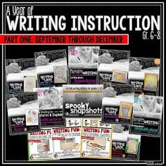 Middle School Writing Curriculum - Bundle Part One (September-December) Writing Lists, Writing Strategies, Writing Lessons, Teaching Writing, Writing Skills, Teaching Tips, Writing Ideas, Narrative Writing, Academic Writing