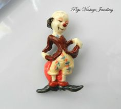 Figural Antique/Vintage Clown by PegsVintageJewellery on Etsy