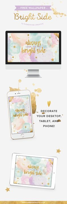 Always look on the bright side with this beautiful rainbow pastel and gold wallpaper. Download it here for your computer, tablet and phone.