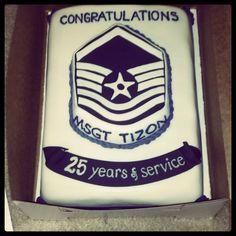 Air Force master sergeant stripe retirement cake.