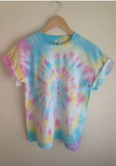 Tie Dye T-Shirt Candy Spiral by JessicaIrwinClothi tye dye shirts Tie Die Shirts, Diy Tie Dye Shirts, Dye T Shirt, Diy Shirt, Diy Tank, Shirt Dress, Camisa Hippie, Camisa Tie Dye, How To Tie Dye