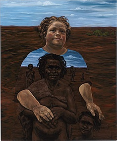 """selfportraitsofcolor: """" Julie Dowling, b. 1969 Self-portrait: in our country Australia National Gallery of Australia [Source] """" Julie Dowling brings Indigenous history to the fore in her. Australian Painting, Australian Artists, Selfies, Portrait Images, Portraits, Mixed Media Sculpture, Medicine Wheel, Cultural Identity, Indigenous Art"""