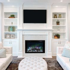 Living Room Layout With Built Ins - Sierra Flame Langley 36 Direct Vent Linear Gas Fireplace Living Room Built Ins, Living Room Shelves, Living Room With Fireplace, Small Living Rooms, Home Living Room, Living Room Designs, Modern Living, Simple Living, Small Living Room Ideas With Tv