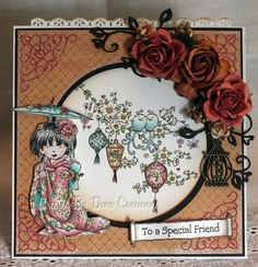 'pocket' card by Dena Concienne... the circle is actually a window... pull up on the lace edge on top removes the center piece, which is the lanterns and birds, to reveal the sentiment behind!... everything colored with Prisma Pencils.... see all photos in post