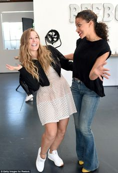 Ronda Rousey Photos - Ronda Rousey (L) and model Denise Vasi attend Reebok Women's Luncheon, hosted by Ronda Rousey, on March 2016 in Los Angeles, California. Ronda Rousy, Ronda Rousey Wallpaper, Ronda Jean Rousey, Rowdy Ronda, Celebs, Celebrities, Mesh Dress, Good Times, Reebok