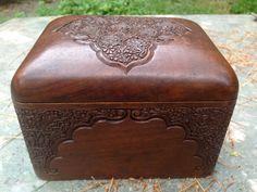 Antique Anglo Indian Mahogany Wood Folding Cigarette Box