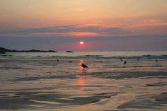 Sunset at Porthmeor beach St Ives
