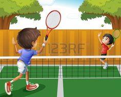 Ilustración de dos niños jugando tenis. Foto.