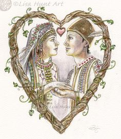 The Heart card (by Lisa Hunt) from the upcoming Fairy Tale Lenormand Deck