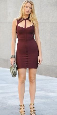 1f01f7e67a0 Blake Lively Burgundy Cut Out Bandage Cocktail Party Dresses Gossip Girl  Fashion