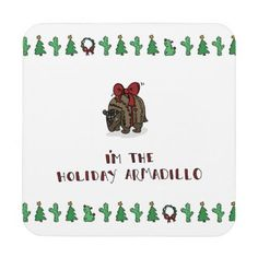 Holiday Armadillo Costers Beverage Coaster - Xmas ChristmasEve Christmas Eve Christmas merry xmas family kids gifts holidays Santa