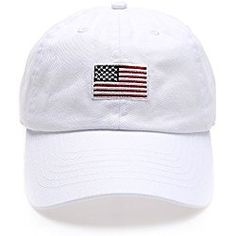 07525e9fdb2 USA American Flag Embroidered 100% Cotton Low Profile Adjustable Strap  Baseball Cap Hat(Flag -White)