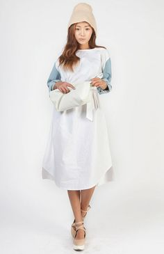 [STYLENANDA] DENIM SLEEVED COTTON DRESS