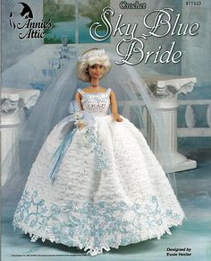 Sky Blue Bride  Fashion Doll  Crochet Pattern  Annies Attic 871520.