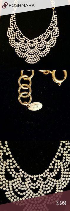 24kgp Elizabeth Cole lace scalloped necklace ~~24kgp & Hematite plate Elizabeth Cole lace crystal scalloped necklace ~~white clear crystals ~~beautiful msrp $159   ~~Have Hana bracelet size 6.5-7.  Pic 5-8 sold separate msrp 99   $249 msrp for set lmk if interested  bundle & save Elizabeth Cole Jewelry Necklaces