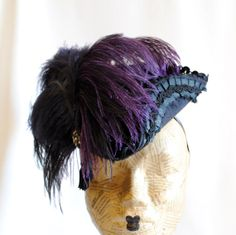 Black Mini Tricorn Hat with Feathers Baroque by RagDolliesMadhouse, €120.00