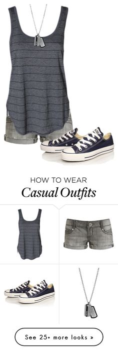 """Casual Outfit"" by ltspork on Polyvore featuring Wet Seal, FOSSIL and Converse"