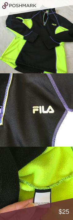 File 1/4 Zip Athletic Pullover Neon yellow and black coloring with a light bit of purple piping. 1/4 zip up Pullover. Has thumb holes on the bottom. Performance sport wear. Bundle 2+ items and get my 20% off bundle discount. Fila Tops Sweatshirts & Hoodies