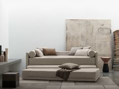 BISS Letto trasformabile by Flou design Pinuccio Borgonovo Sofa Bed Types, Bed Without Headboard, Sofa Bed Design, Large Cushions, Convertible Bed, Italian Furniture, Fabric Sofa, Sofa Furniture, Interior Design