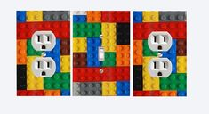 Lego Lightswitch and Outlet Covers-Set of 3 in Standard Outlets. Lego Boys Rooms, Boys Lego Bedroom, Big Boy Bedrooms, Boy Room, Kids Rooms, Lego Room Decor, Playroom Decor, Playroom Ideas, Switch Plate Covers