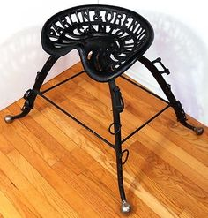 parlin orendorff co tractor seat | Antique Parlin Orendorff Cast Iron Tractor Seat Stool Horse Harness ... Man Cave Furniture, Unique Furniture, Rustic Furniture, Tractor Bar, Tractor Seat Stool, Farm Mirrors, Wrought Iron Chairs, Horse Harness, Metal Art Projects