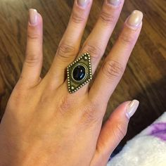 Diamond Shaped Ring From American Eagle vintage looking ring with black accents. Size 7. Worn once. American Eagle Outfitters Jewelry Rings