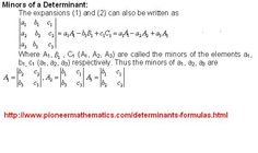 determinant maths formula pioneer mathematics