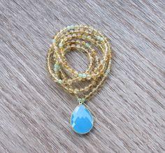 Beautiful Citrine Boho Necklace  Bezel Blue by BBTresors on Etsy